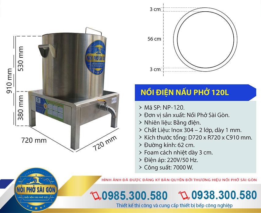 Địa chỉ mua nồi nấu phở bằng điện 120 lít chính hãng giá gốc tại xưởng thương hiệu Nồi Phở Sài Gòn. Liên hệ mua ngay.