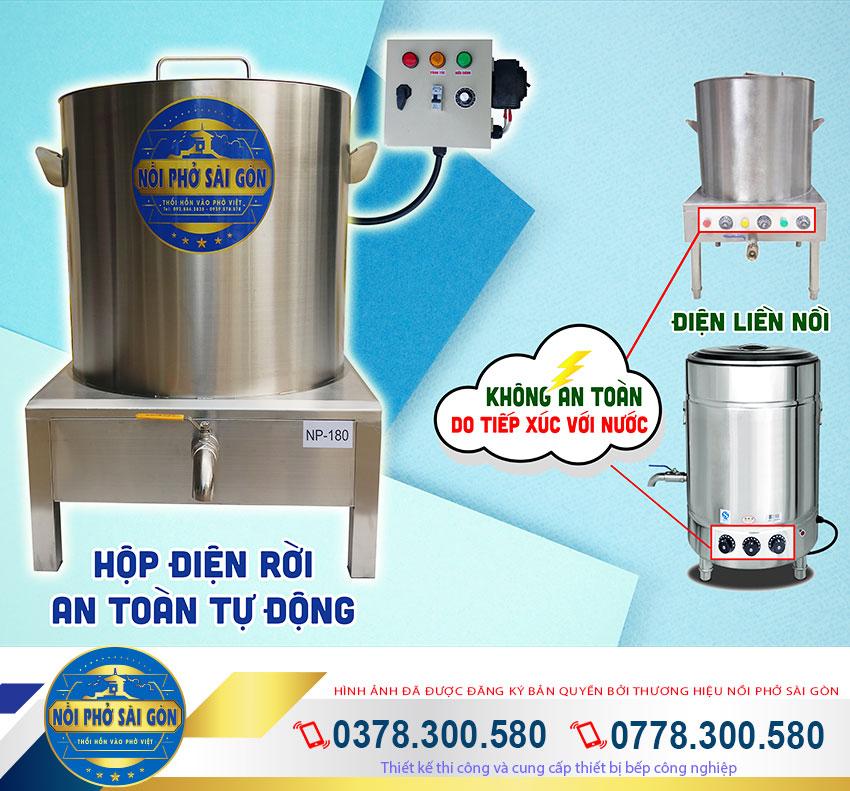 Nên chọn mua nồi nấu phở bằng điện, nồi điện nấu phở chất liệu inox 304 thương hiệu Nồi Phở Sài Gòn.