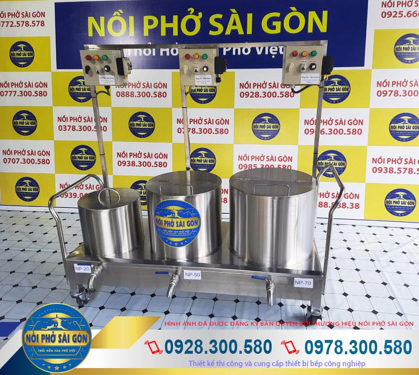 Bộ 3 nồi nấu phở bằng điện 20 lít 50 lít và 70 lít giá tốt Thương Hiệu Nồi Phở Sài Gòn.
