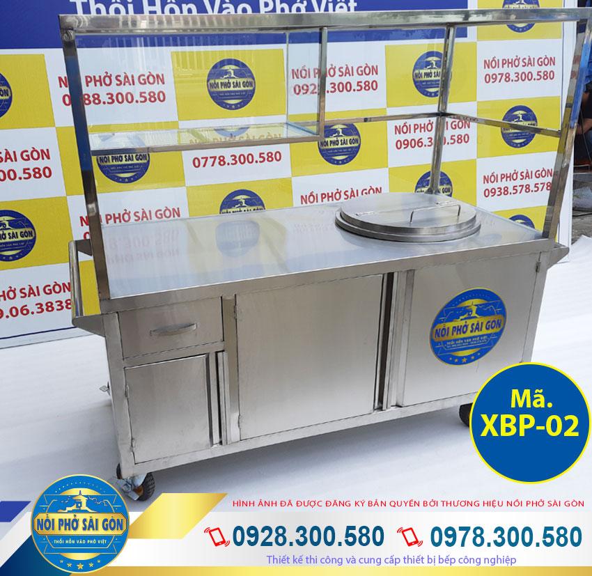 Tủ bán phở inox có bánh xe, tủ bán phở inox có nồi nấu nước lèo bằng điện giá tốt.