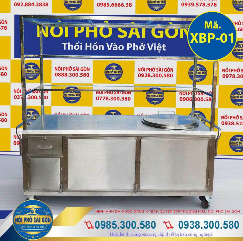 Xe bán hủ tiếu, tủ bán phở inox có nồi nấu nước lèo bằng điện giá tốt.